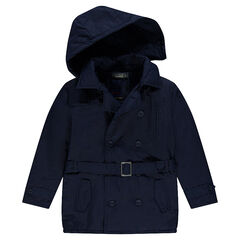 Junior - Trench en twill à capuche amovible avec poches