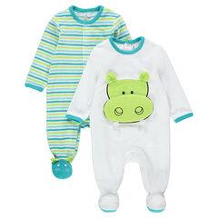 Set met 2 pyjama's van velours met strepen en nijlpaard