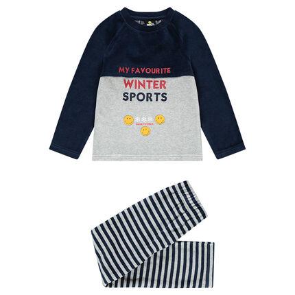 Pyjama van velours in twee kleuren met geborduurde opschriften en ©Smiley-prints