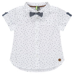Chemise manches courtes imprimée avec noeud papillon