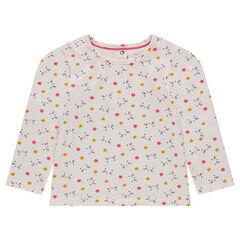 Tee-shirt manches longues en jersey avec fleurs imprimées