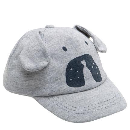 Casquette en jersey chiné avec oreilles en relief et print chien