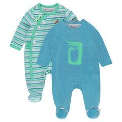 Set met 2 pyjama's ven velours: gestreept/effen met print
