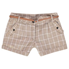 Junior - Short met ruitjes en riem van namaakleder