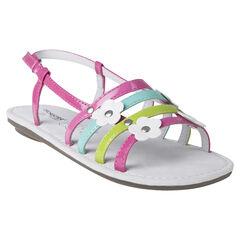 Open schoenen met studs patch met bloemenprint
