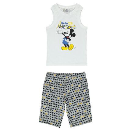Korte pyjama uit jerseystof met print van Disney's Mickey