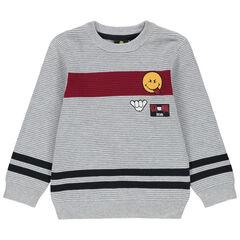 Pull en tricot ottoman avec badge Smiley brodé