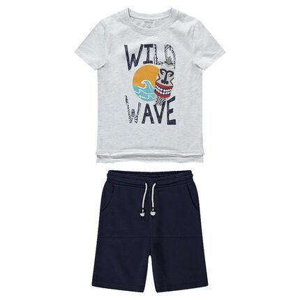 Junior - Ensemble avec t-shirt print tribal et bermuda