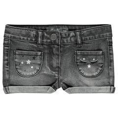 Short in jeans used effect met borduursels