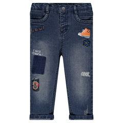 Jeans droit effet used avec patchs et broderies