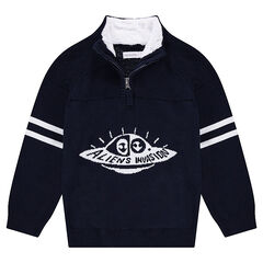 Pull en tricot avec col zippé doublé sherpa