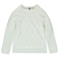 Junior - Pull en tricot avec jeu de mailles et coupe asymétrique