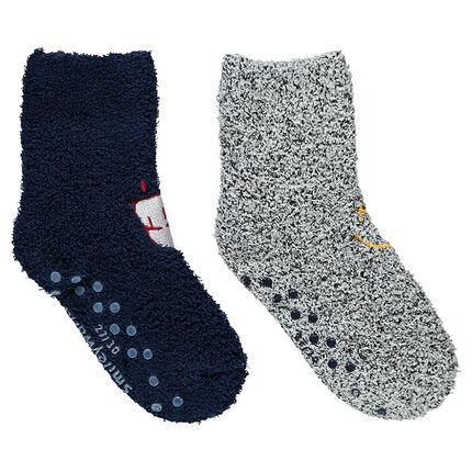 Set met 2 paar sokken van bouclé met geborduurde ©Smileymotieven