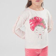 T-shirt met lange mouwen, volants en fantasieprint