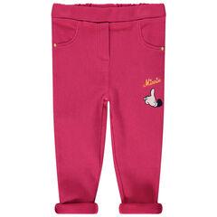 Roze legging met borduurwerk van Minnie Disney