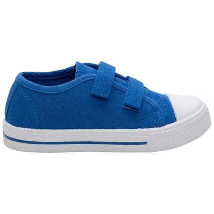 Baskets basses bleues en toile à scratchs du 24 au 35