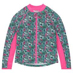 Interlock vest met ritssluiting en dubbele zijde met tropische print