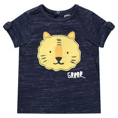 T-shirt manches courtes en jersey chiné avec tigre printé