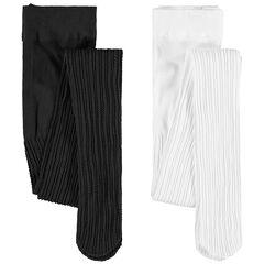 Set met 2 panty's van zwarte/witte gebreide fantasiestof