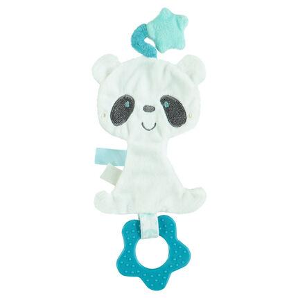 Doudou panda en velours avec anneau de dentition