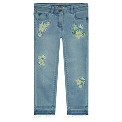 Jeans met afgewassen effect en geborduurde bloemen