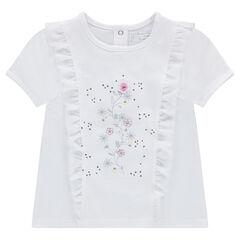 T-shirt met korte mouwen uit jerseystof met volants en bloemenprint