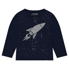 T-shirt met lange mouwen en raket van fluorescerende lovertjes