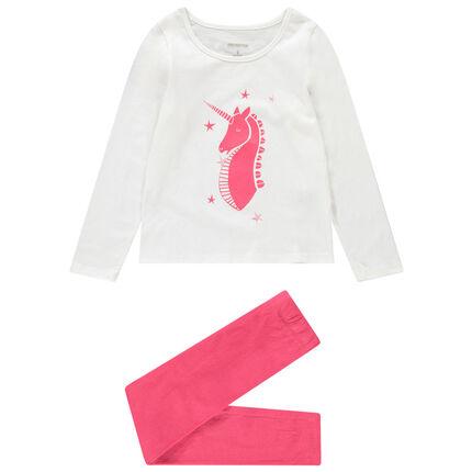 Pyjama uit jerseystof met eenhoornprint