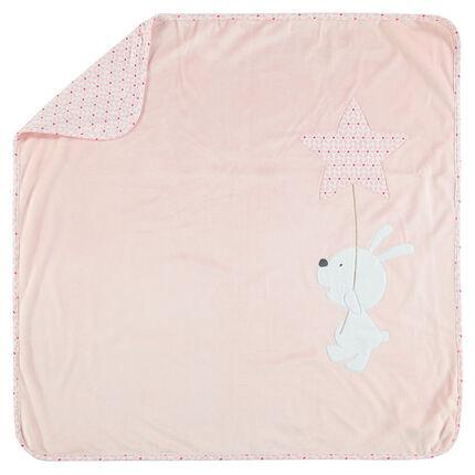 Couverture en velours et jersey avec lapin et étoile brodé