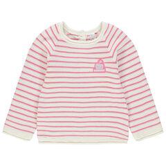 Pull en tricot à rayures en jacquard avec badge