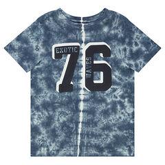 Junior - T-shirt in jerseystof met shibori-effect en print met cijfers