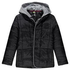 Junior - Veste ouatinée à effet matelassé et capuche jersey