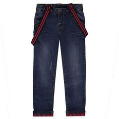 Aansluitende straight fit jeans met used-effect en flanellen voering