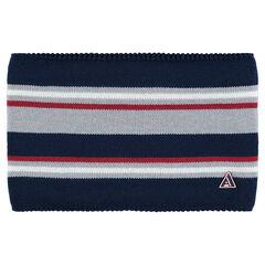Snood en tricot à rayures jacquard avec doublure en sherpa et badge en gomme