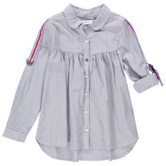 Hemd met lange mouwen, fijne streepjes en stroken in drie kleuren