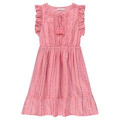 Junior - Lange jurk zonder mouwen met blinkende strepen