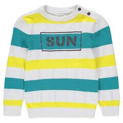 Pull en tricot fantaisie avec rayures contrastées