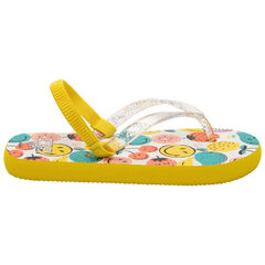Teenslippers met riem met pailletjes en Smiley-print
