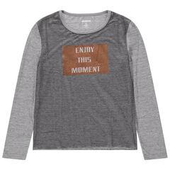 Junior - T-shirt manches longues en jersey avec message en foil
