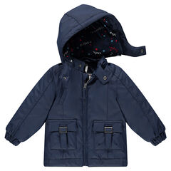 Coupe-vent en gomme doublé jersey avec poches et capuche amovible
