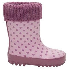 Bottes de pluie en caoutchouc avec col en tricot rose et intérieur fourré du 20 au 23
