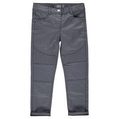 Jeans slim enduit avec jeu de surpiqûres