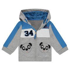Vest met kap van molton en zakken in de vorm van een panda