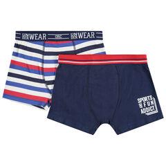 Set met 2 katoenen boxers met strepen en print