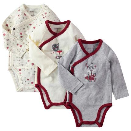 Set van 3 body's met lange mouwen uit jerseystof met print van een vosje
