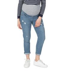 Zwangerschapsjeans met used en crinkle-effect en hoge band