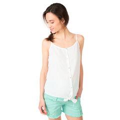 Hemd met fijne schouderbandjes en knooplintjes