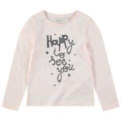 T-shirt manches longues rose pâle avec message printé