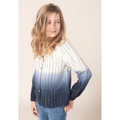 Junior - Hemd met lange mouwen met tie and dye-effect en strepen van jacquard