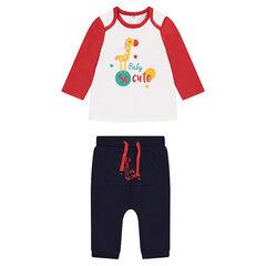 Ensemble tee-shirt avec animal printé et pantalon en molleton